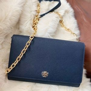 Tory Burch Emerson Chain Wallet in Navy Blue